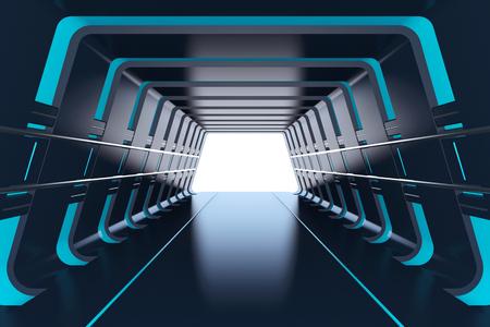 Túnel futurista con luces azules