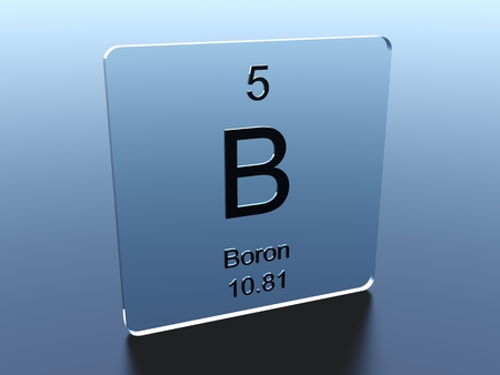boron: Boron symbol on a glass square