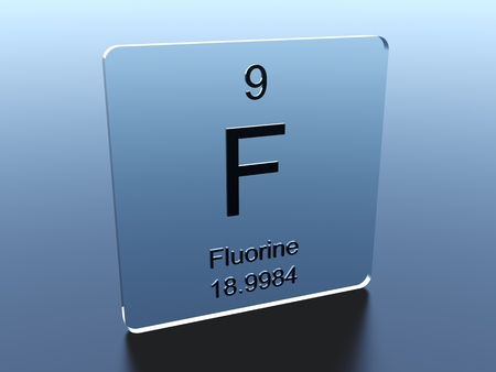 fluorine: Fluorine symbol on a glass square