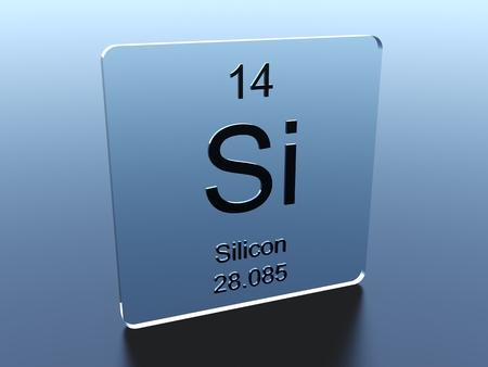 silicio: símbolo de silicio sobre un cuadrado de cristal Foto de archivo