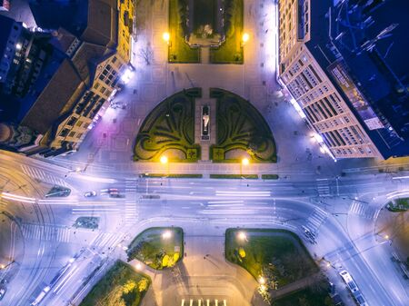 satelite: Aerial view from drone flying above street in the night, Timisoara, Romania.