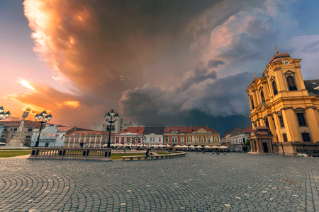 storm clouds: Threatening storm clouds above Union Square in Timisoara, Romania