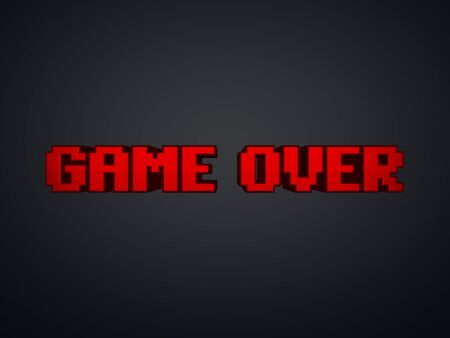 the game is over: Red pixel text Game Over on screen - computer game symbol 3d render Stock Photo