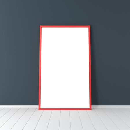 interior spaces: Red frame on the blue dark wall Stock Photo
