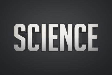 black metallic background: Science - metallic text 3d render on black background