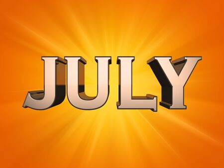July calendar orange background with sun rays