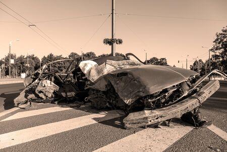 Car destroyed after horrible car accident