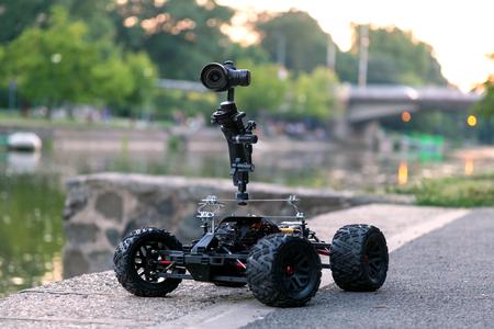 Custom made remote control vehicle camera dolly Stock Photo