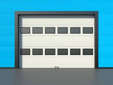 sectional door: Sectional industrial door with windows on blue industrial wall