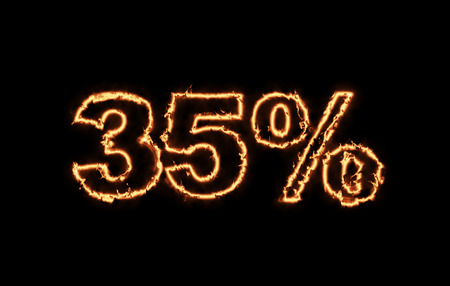 money to burn: Hot 35 percent in fire on black background Stock Photo