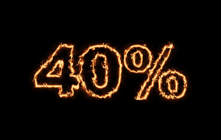 money to burn: Hot 40 percent in fire on black background