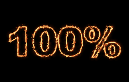 burning money: Hot 100 percent in fire on black background Stock Photo