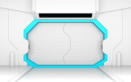 futuristic: Futuristic white door or gate
