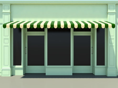 shopfront: Green modern shopfront in the sun - 3d render classic store front with green awnings Stock Photo