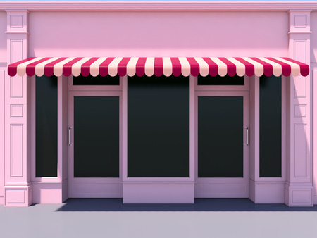 awnings: Pink modern shopfront in the sun - 3d render classic store front with red awnings Stock Photo