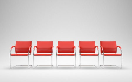 render: Five red chairs in empty space 3D render