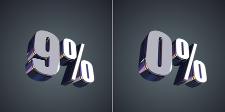 0 9: 9 percent and 0 percent glossy symbol 3d render
