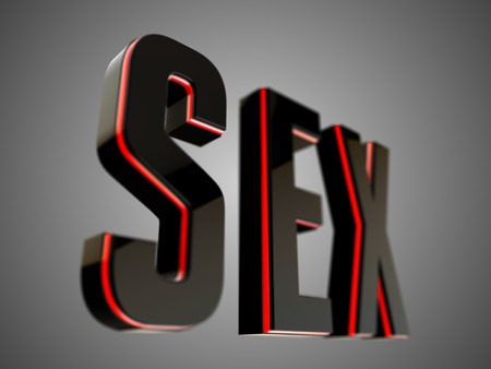 erotic sex: Sex black glossy text 3D rendered with depth of field