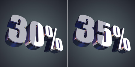 30 to 35: 30 and 35 percent glossy symbol 3d render