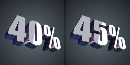 40 45: 40 and 45 percent glossy symbol 3d render Stock Photo