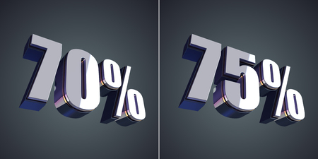 70 75: 70 and 75 percent glossy symbol 3d render Stock Photo