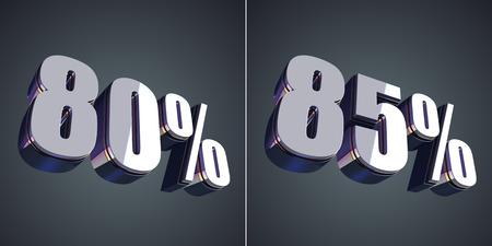80 85: 80 and 85 percent glossy symbol 3d render