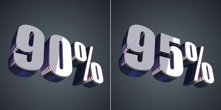 90: 90 and 95 percent glossy symbol 3d render