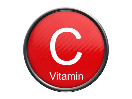 c vitamin: C vitamin symbol on red glossy round icon isolated on white background