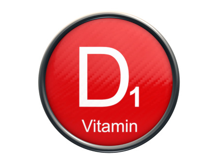 d1: D1 vitamin symbol on red glossy round icon isolated on white background Stock Photo
