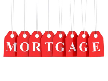 business loans: Mortgage text on red labels 3d render