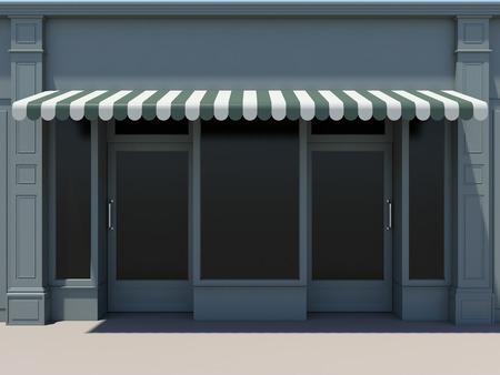 anuncio publicitario: shopfront clásico con dos puertas, ventanas grandes y toldos Foto de archivo