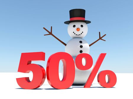 retail sales: 50 percent discount - Happy snowman announces winter discounts