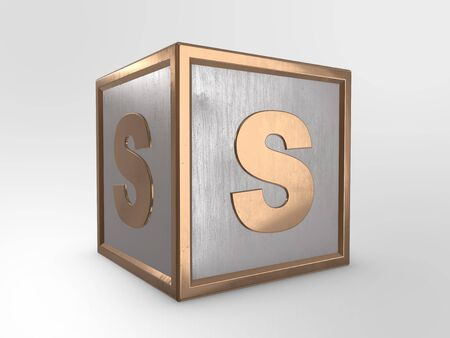 symbols: Letter S on metallic cube 3D render