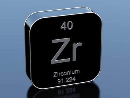 black block: Zirconium from periodic table Foto de archivo