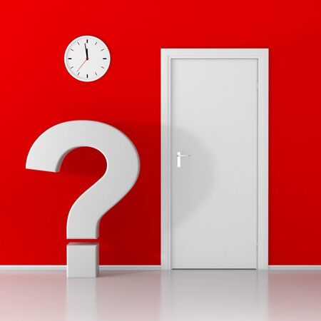 problems solutions: White question mark waiting at the door on red background Stock Photo