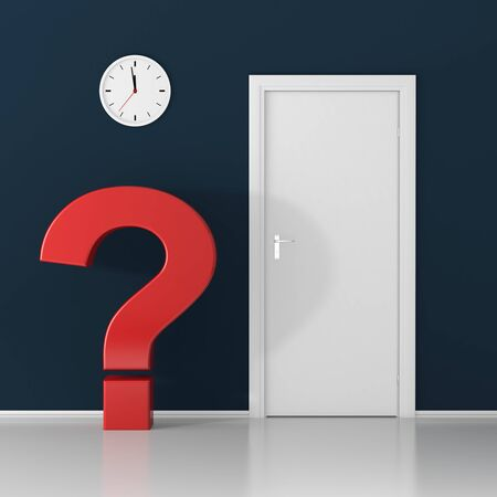 problems solutions: White question mark waiting at the door on dark background Stock Photo