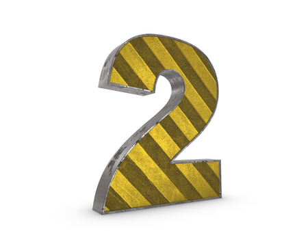 extruded: Number 2 - metallic yellow extruded number on white background 3D render