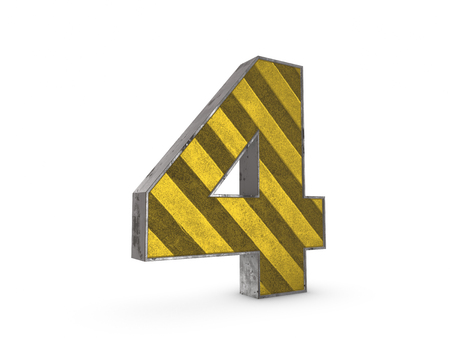 extruded: Number 4 - metallic yellow extruded number on white background 3D render Stock Photo