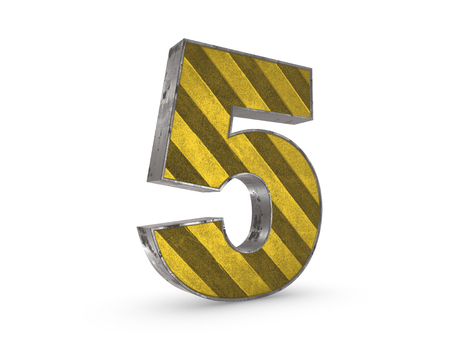 extruded: Number 5 - metallic yellow extruded number on white background 3D render