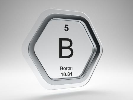 boron: Boron symbol on modern glass and steel icon Stock Photo