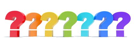 FAQ - colorful question marks on white background Stock Photo