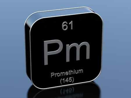 black block: Promethium symbol from periodic table Foto de archivo