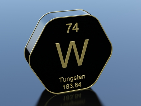 Tungsten hexagonal black glossy icon