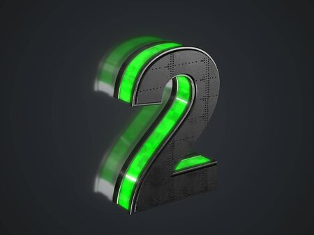 Futuristic number 2 - black metallic extruded number with green light outline glowing in the dark