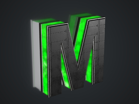 Futuristic letter M - black metallic extruded letter with green light outline glowing in the dark