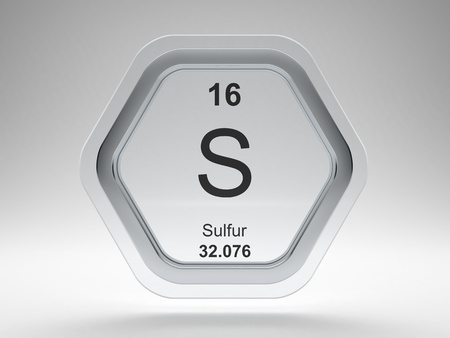 Sulfur symbol on modern glass and steel icon