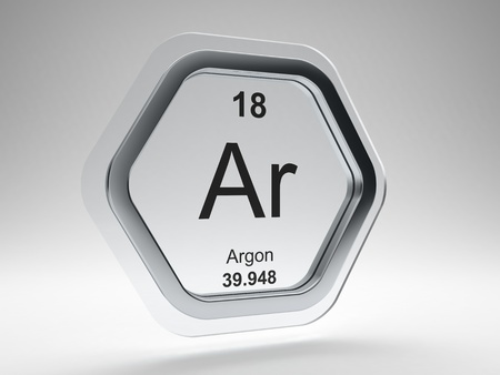 Argon symbol on modern glass and steel icon Stock Photo