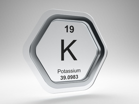 Potassium symbol on modern glass and steel icon