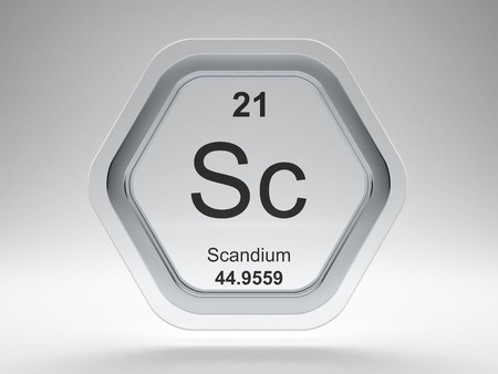 Scandium symbol on modern glass and steel icon Stock Photo