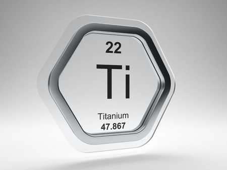 Titanium symbol on modern glass and steel icon